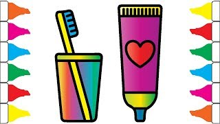 Toothpaste, Brush Coloring and Drawing for Baby, Toddlers | Health Kit Coloring Page