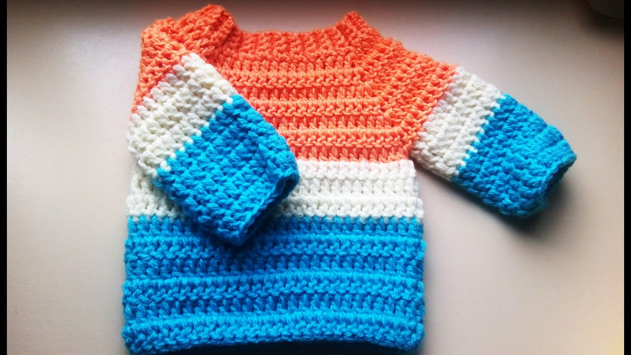 53ce83ca6f30 crochet baby sweater jumper pullover - YouTube