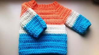 Repeat youtube video crochet baby sweater/jumper/pullover