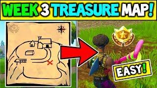 "WEEK 3 BATTLE STAR LOCATION! ""Follow the Treasure Map Found in Flush Factory"" FORTNITE TREASURE MAP!"