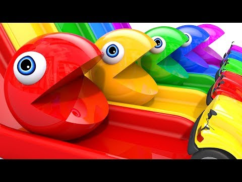 Learn Colors With PACMAN VS SchoolBus And Farm Magic Slide And Surprise Toy Street Vehicle For Kid