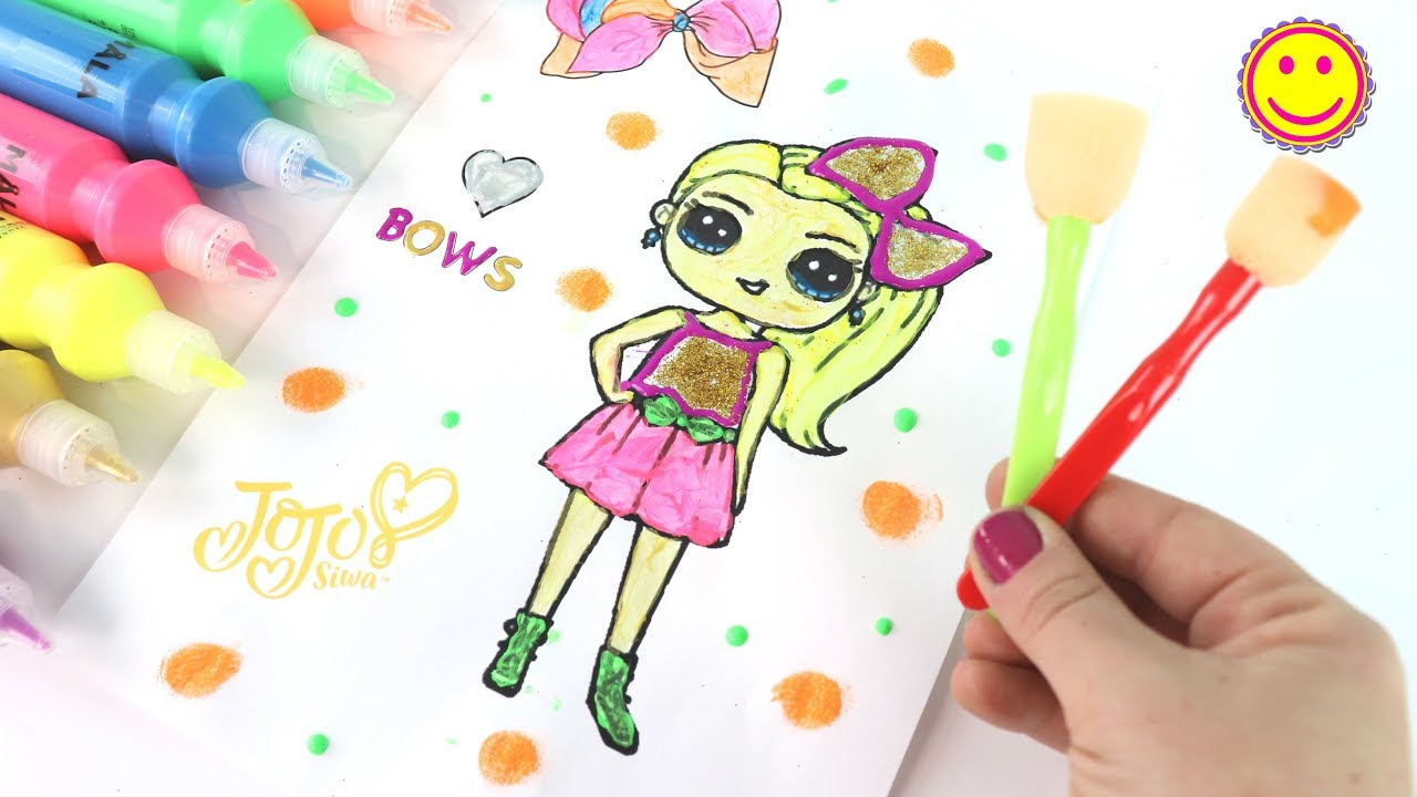 Painting Jojo Siwa With Glitter Coloring Pages For Kids Ikea Paints