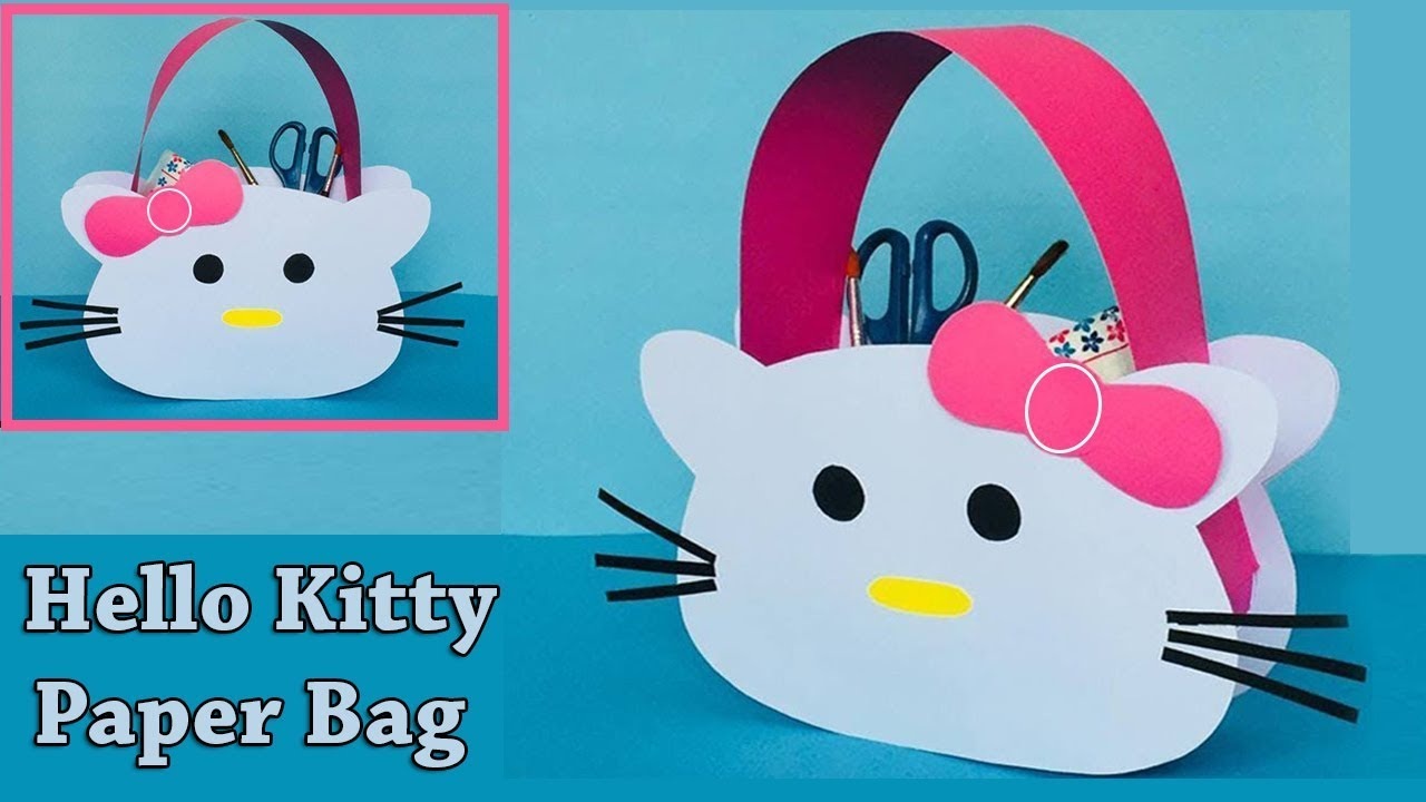 2b755de91 DIY Hello Kitty Paper Bag | How to Make a Paper Bag | Easy and Cute Paper  Gift Bag