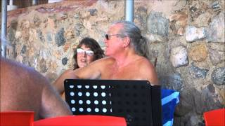 Music on Terrace Camping El Portus Cartagena, 12 10 2014. Russ and Alison singing.