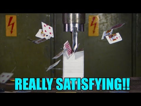 Splitting 10 Decks of Playing Cards with Hydraulic Press | in 4K!