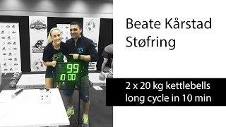 Beate Kårstad Støfring | 2 x 20 kg kettlebells long cycle - 99 reps in 10 minutes (2018)