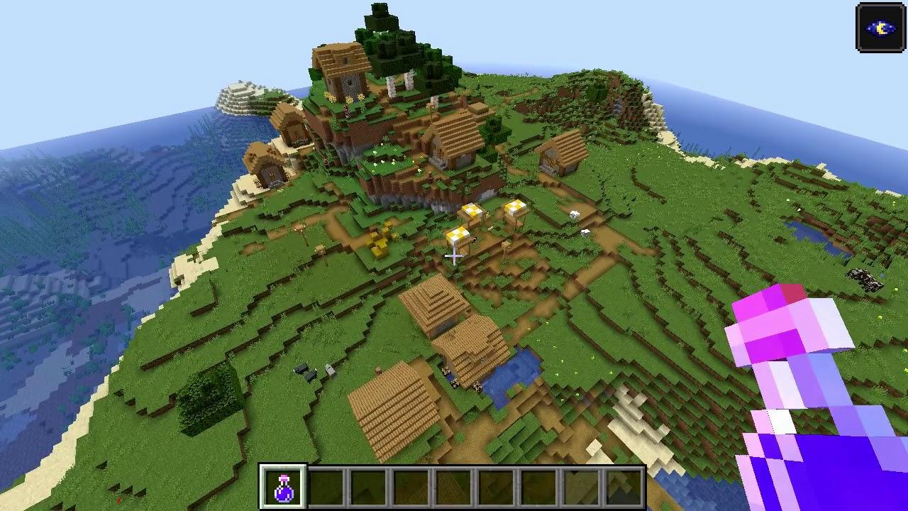 Minecraft 8.84 Seed 887: Perfect island village at spawn!