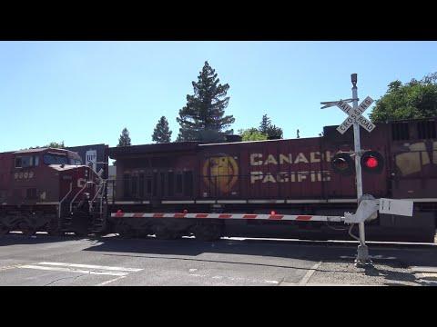 BNSF 7941 Leads CP Oil Train North, 2 CP's, K St. Railroad Crossing, Sacramento California