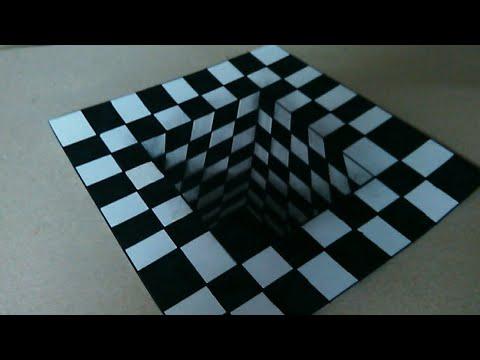 تعلم رسم ثلاثى الابعاد 3d حفرة شطرنج Draw3d Art Visual Trick