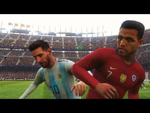 PES 2019 Realistic | Argentina vs Chile - Messi, Dybala vs Alexis Sanchez, Vidal | Fujimarupes