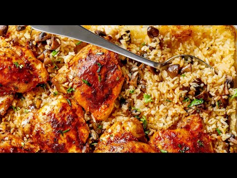 Oven Baked Chicken And Rice With Garlic Butter Mushrooms