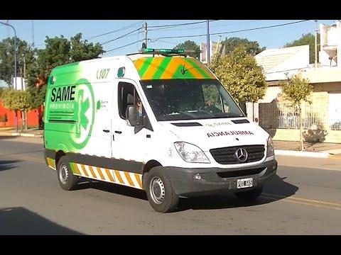 Ambulancia del SAME escoltando la Doble Bragado