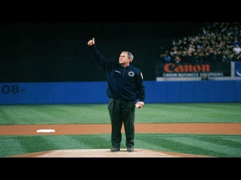 President Bush throws the first pitch of Game 3 of the 2001 World Series