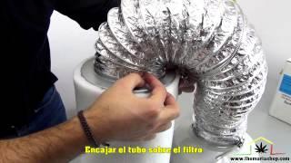 Montage filtre à charbon actif sur un extracteur d'air