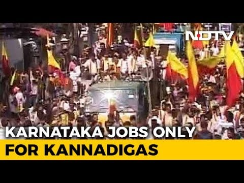 Protest In Bengaluru Demands Karnataka Jobs Be Reserved For Kannadigas