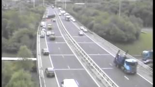 ORIGINAL Truck accident caught on police camera Motorway M621 M62 Crash Leeds West Yorks UK