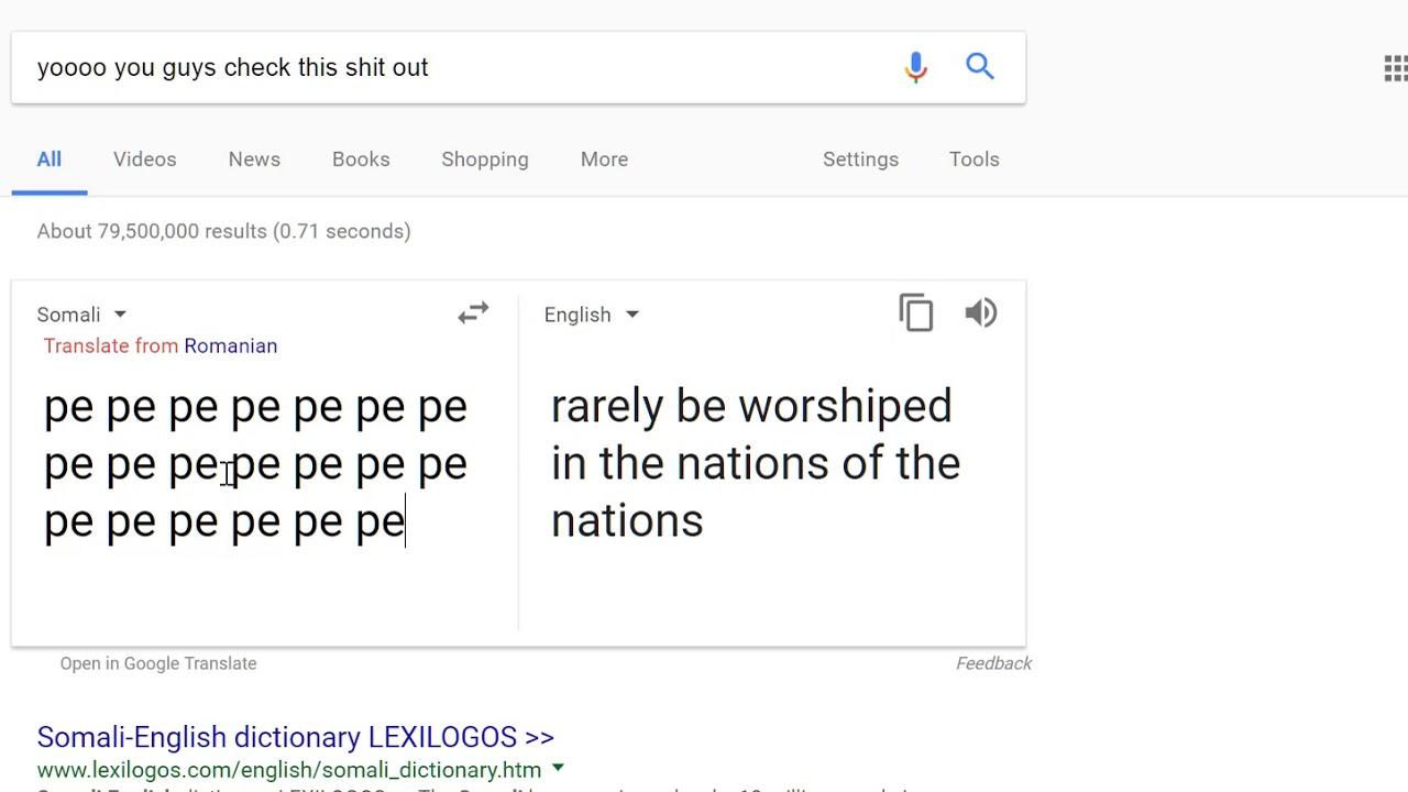 Google Translate Pepe Somali Weirdness