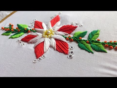 Hand embroidery . Hand embroidery flower design .Beautiful satin stitch with cut work.