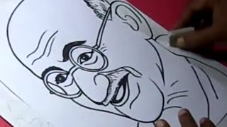 How to Draw MAHATMA GANDHI Drawing Step By Step for Kids in TELUGU