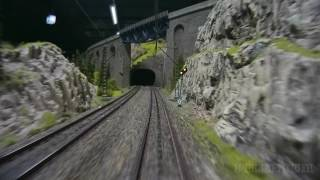 Cab ride on a very large model train layout in HO scale