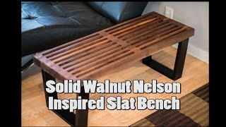 Nelson Inspired Walnut Slat Bench