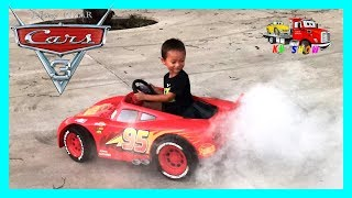 disney cars 3 lightning mcqueen battery powered power wheels ride on car kids unboxing test drive