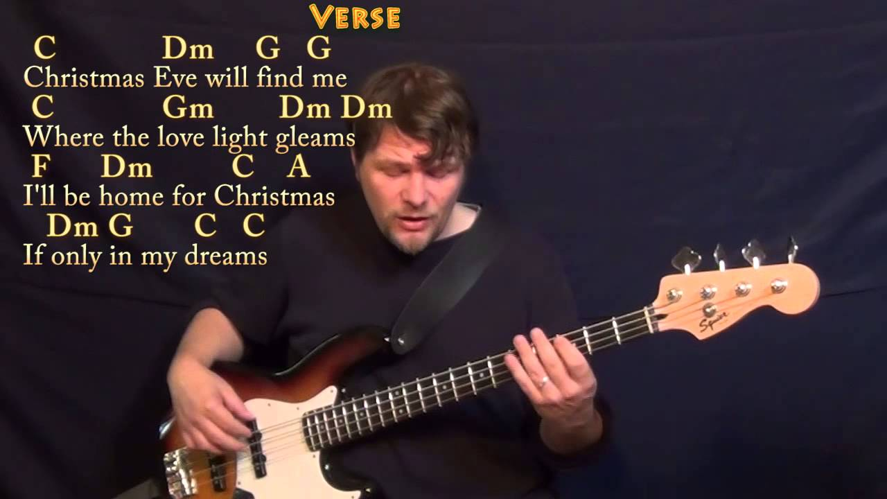 I'll Be Home for Christmas - Bass Guitar Cover Lesson in C with Chords/Lyrics - YouTube