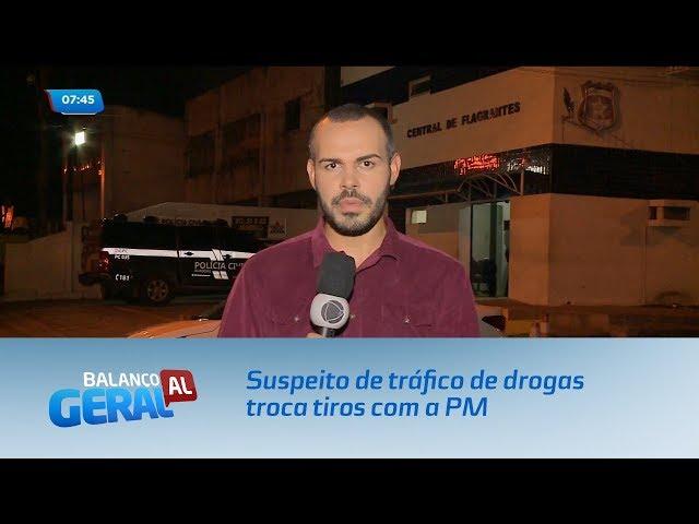 Suspeito de tráfico de drogas troca tiros com a PM
