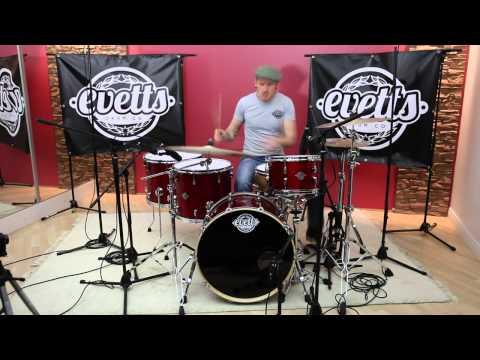 Evetts Drums Tasmanian Blackwood Drum Kit, Red Sparkle 13/16/18/22/14