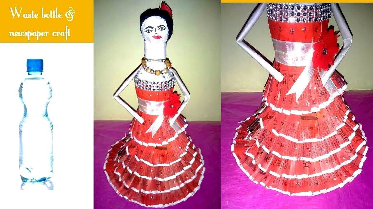 How To Make Fancy Doll With Newspaper Waste Bottle Summer Camp