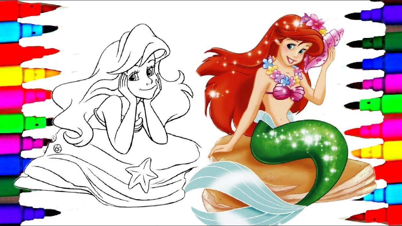 learn rainbow colors l disney princess ariel coloring pages l art