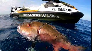 25 Miles Offshore Spearfishing with Jet Ski! - BIG FISH