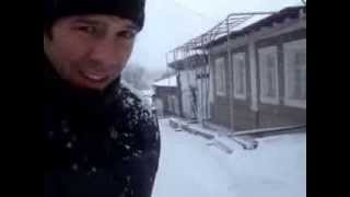 Sledgeing on icy road in Shymkent.
