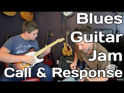 Blues Guitar Jam - 12 bar blues in A - Call and Response - Improvisation