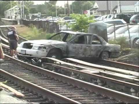 Taxi on Railroad Tracks in Hewlett, N.Y.!!