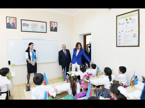Mehriban Əliyeva Qubadlının Xanlıq kənd orta məktəbinin yeni binasında yaradılan şəraitlə tanış olub