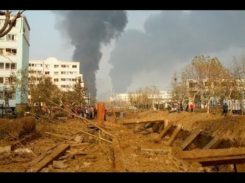 Qingdao Oil Gas pipes exploses cracking the road leaving 48 dead in Qingdao China safety tragedy