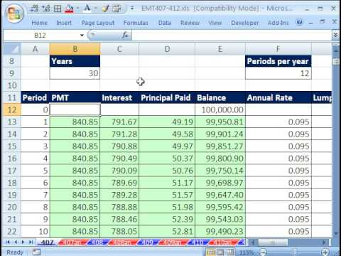 loan amortization calculation excel