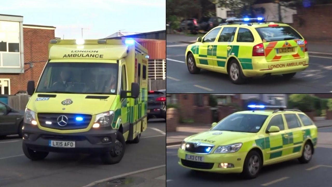 London ambulance siren ambulance responding from station with lights