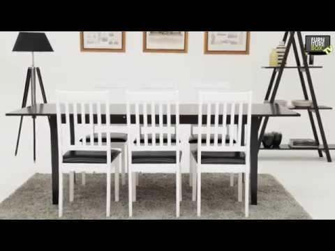 ALICE Bord Svart + 6 SETAR Stol Vit/Svart Furniturebox - YouTube : köksbord pinnstolar : Kök