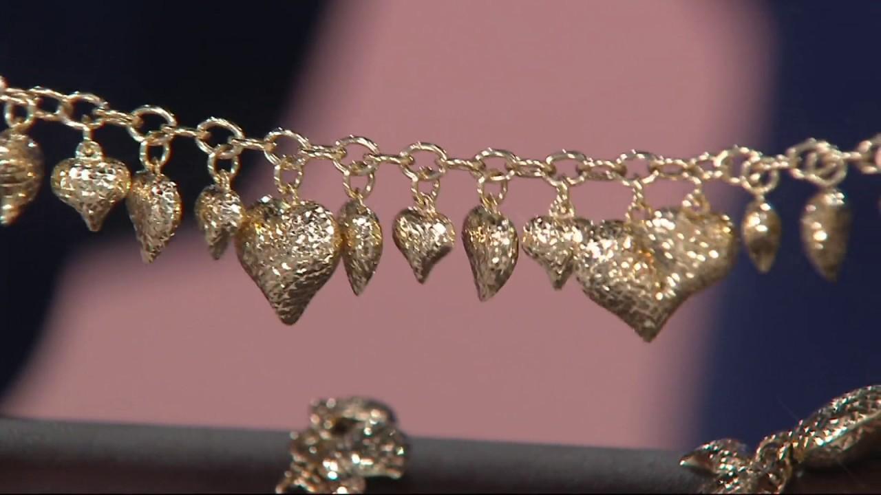 13e170303 Vicenza Gold Diamond Cut Heart Charm Bracelet 14K Gold on QVC - YouTube