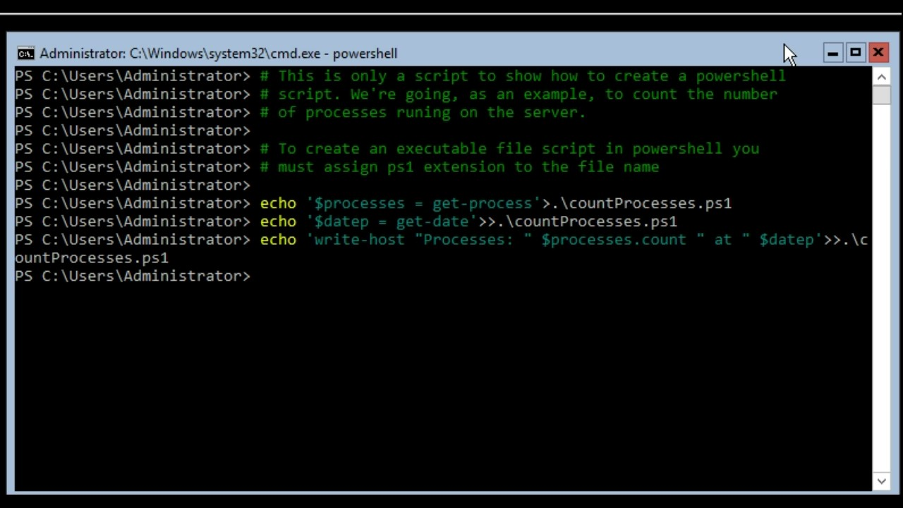 How to create an execute a simple powershell file script