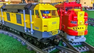 Lego Trains in Action! Wonderful long Train sets!