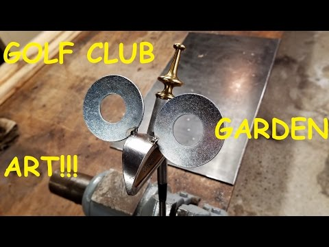 Garden Art Golf Bird using Golf Clubs and recycled materials!!