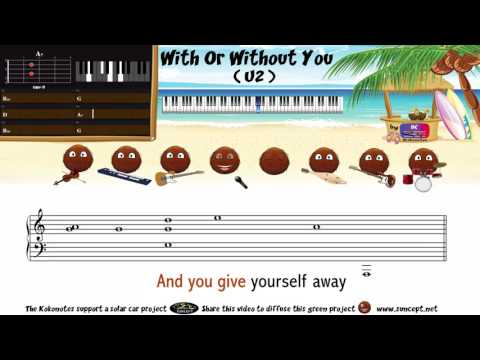 How to play : With Or Without You (U2) - Tutorial / Karaoke / Chords / Score / Cover