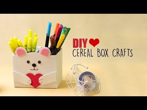Cereal Box Crafts | Diy Desk Organiser | Back to school