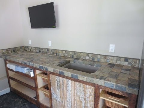 Slate tile counter top installation time lapse