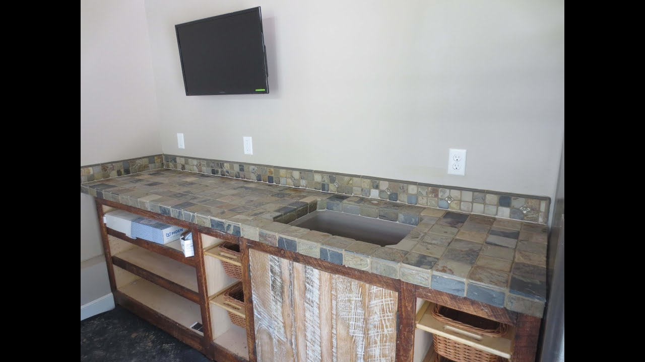 installation countertop watch counter tile top youtube slate