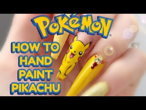 HOW TO: HAND PAINT EASY PIKACHU | POKEMON NAILS | step by step