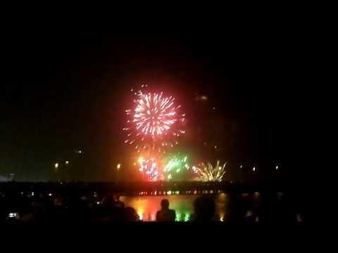 New Year in Baku 2014. Fireworks in Baku, Bulvar. HD 720p